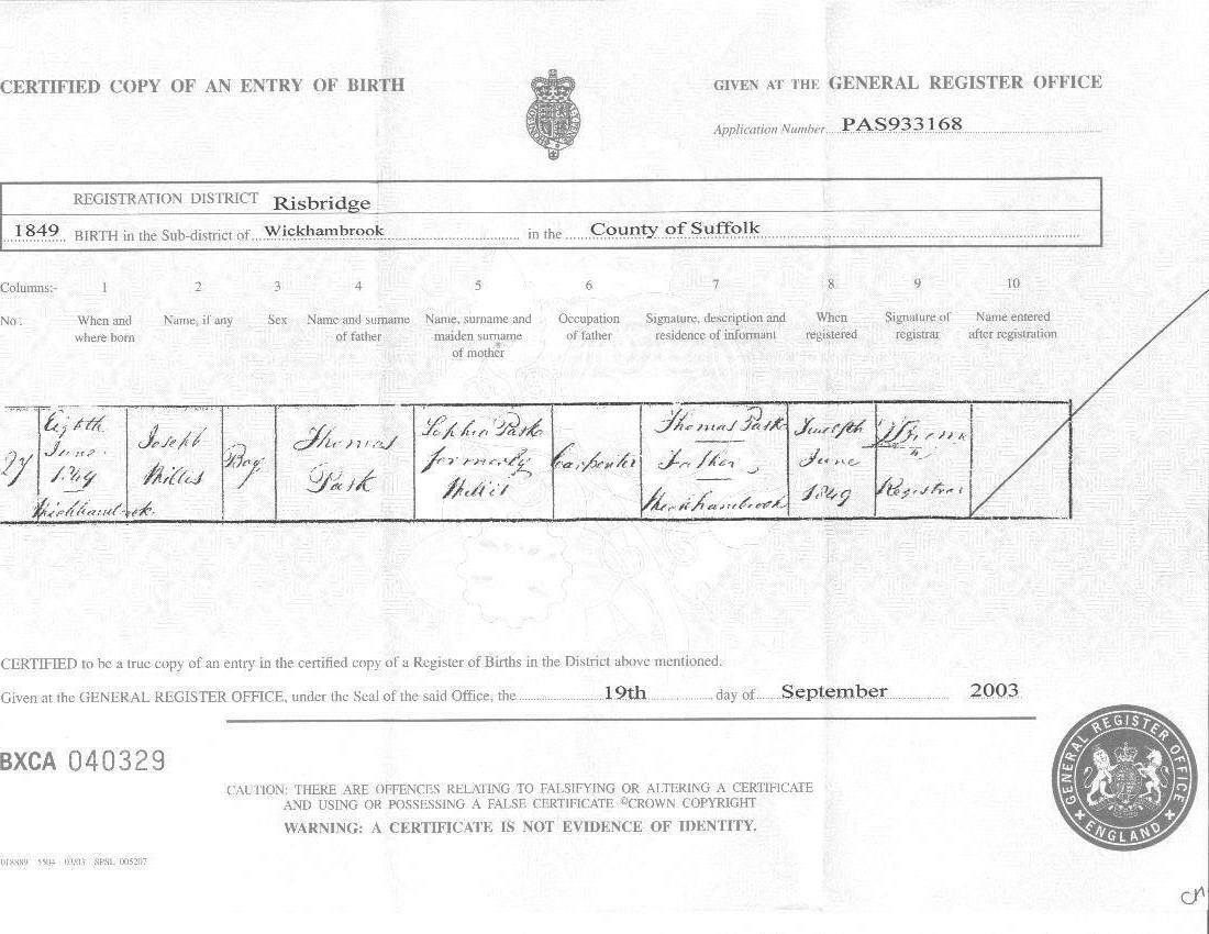 Pask paske one name study narratives person page - General register office birth certificate ...
