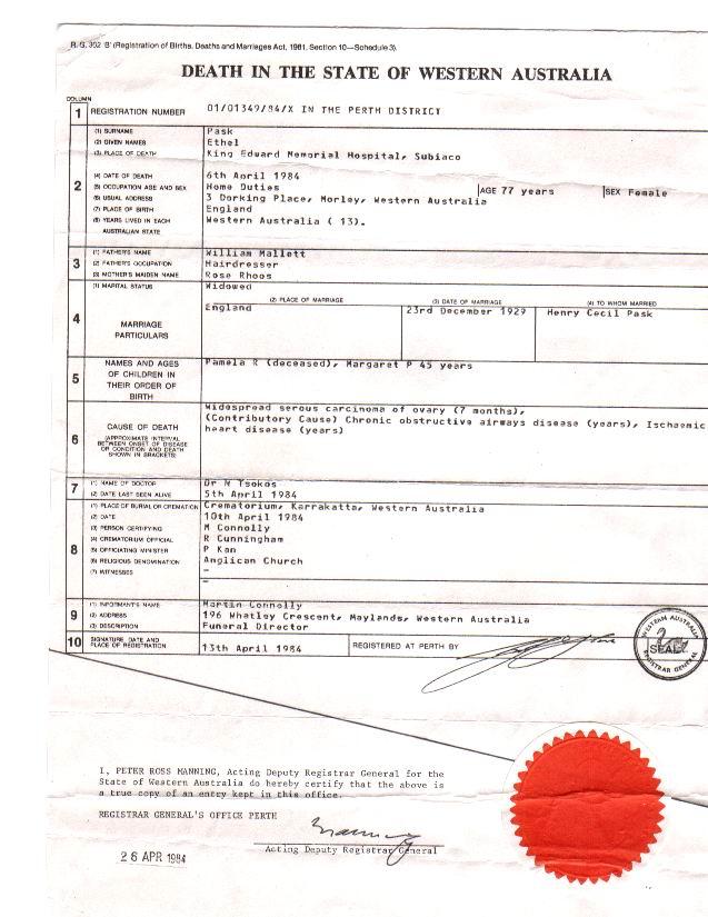Death Certificate Australia