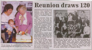 Newspaper cutting of the Pask reunion held at Feilding, New Zealand during Easter 2004.
