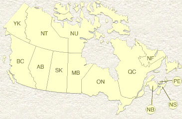 Map of Canada showing the states