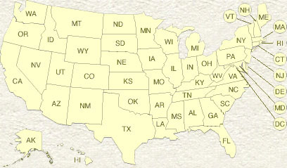 US map showing states